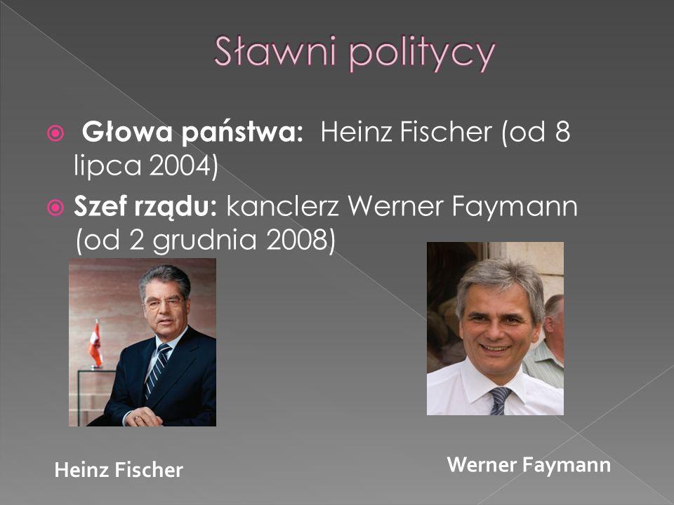 Głowa państwa: Heinz Fischer (od 8 lipca 2004) Szef rządu: kanclerz Werner Faymann (od 2 grudnia 2008) Heinz Fischer Werner Faymann