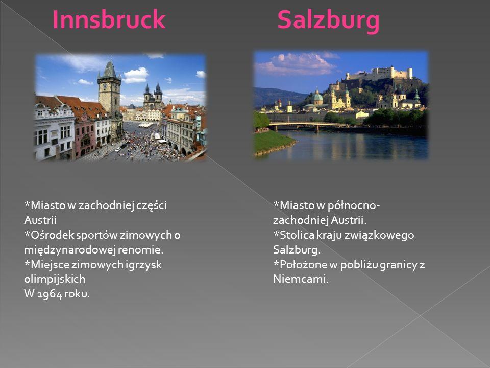 SalzburgInnsbruck *Miasto w północno- zachodniej Austrii. *Stolica kraju związkowego Salzburg. *Położone w pobliżu granicy z Niemcami. *Miasto w zacho