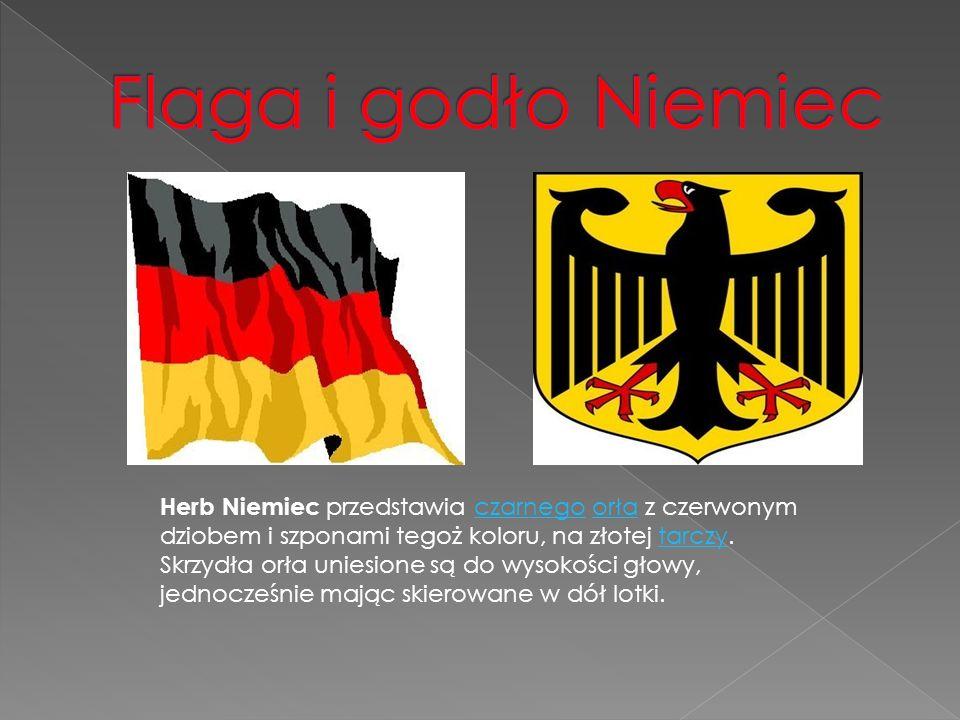 Herb Niemiec przedstawia czarnego orła z czerwonym dziobem i szponami tegoż koloru, na złotej tarczy.