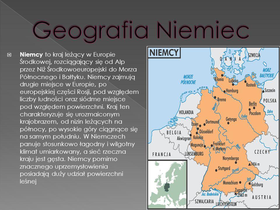 Niemcy to kraj leżący w Europie Środkowej, rozciągający się od Alp przez Niż Środkowoeuropejski do Morza Północnego i Bałtyku. Niemcy zajmują drugie m