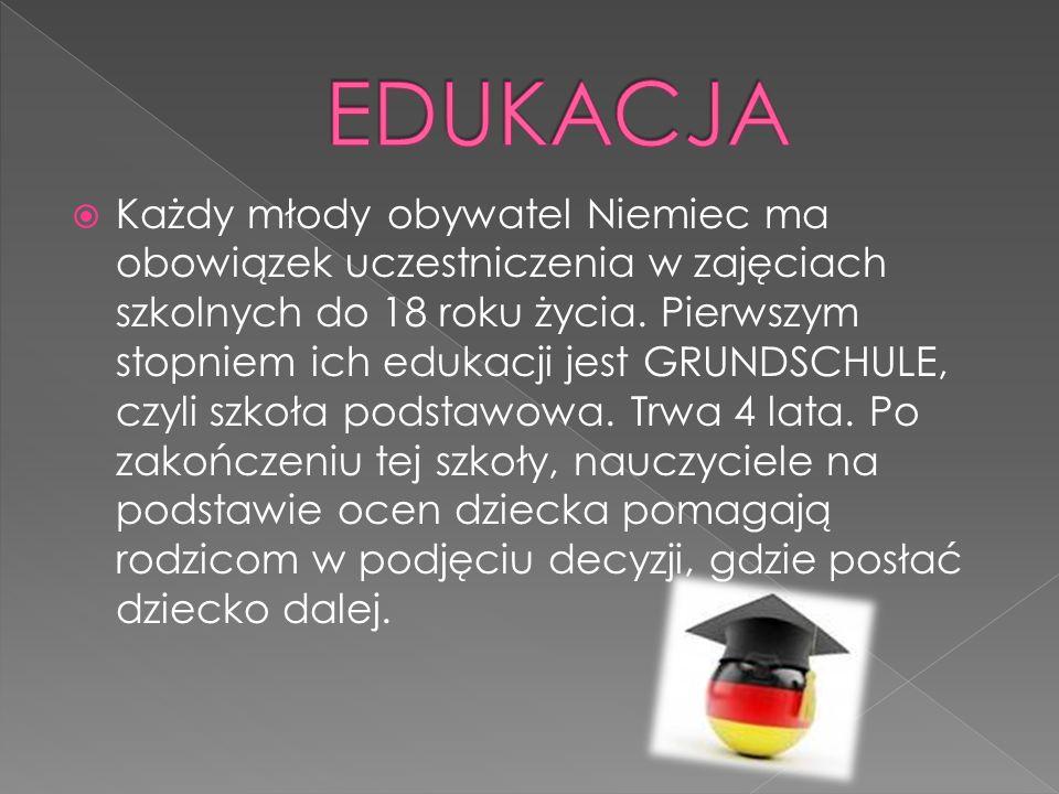 Każdy młody obywatel Niemiec ma obowiązek uczestniczenia w zajęciach szkolnych do 18 roku życia. Pierwszym stopniem ich edukacji jest GRUNDSCHULE, czy