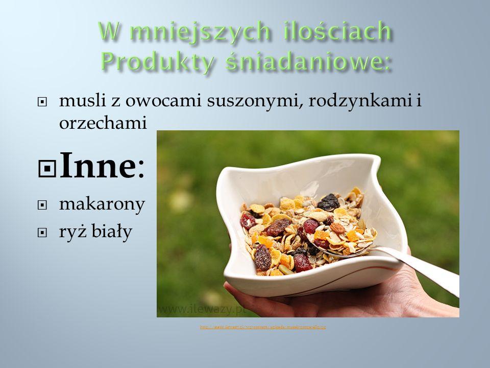 musli z owocami suszonymi, rodzynkami i orzechami Inne : makarony ryż biały http://static.ilewazy.pl/wp-content/uploads/muesli-porcja-45g.jpg