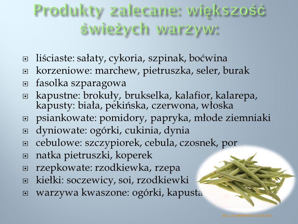liściaste: sałaty, cykoria, szpinak, boćwina korzeniowe: marchew, pietruszka, seler, burak fasolka szparagowa kapustne: brokuły, brukselka, kalafior,