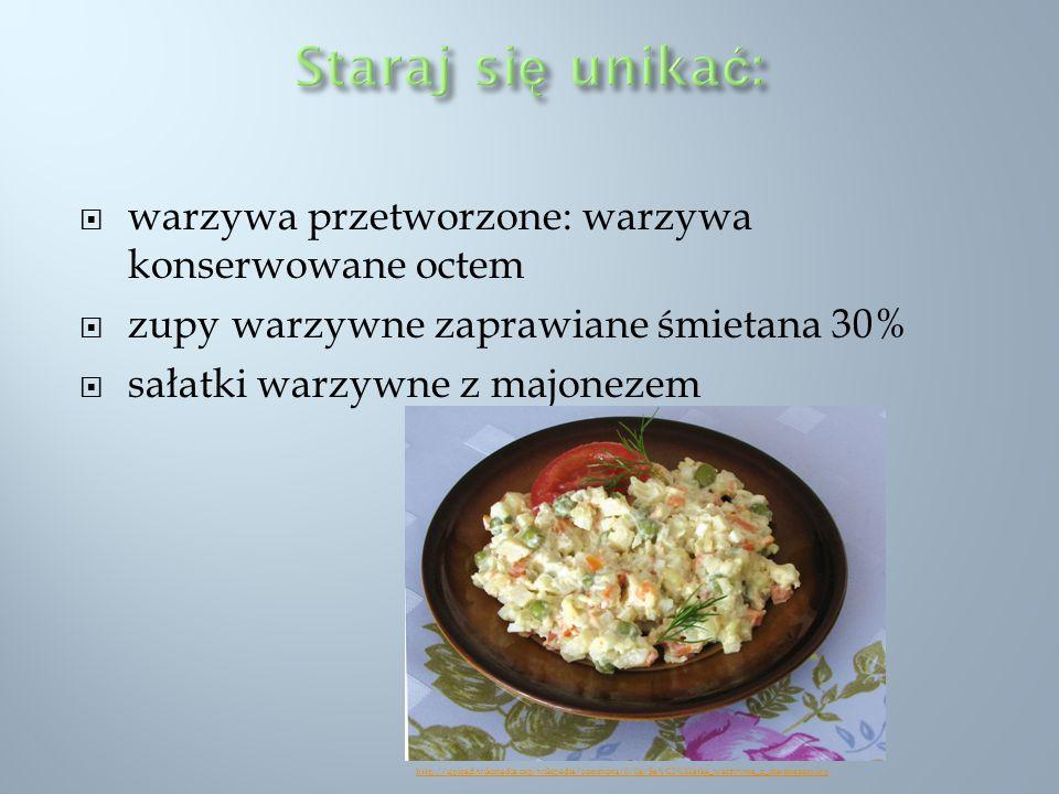 warzywa przetworzone: warzywa konserwowane octem zupy warzywne zaprawiane śmietana 30% sałatki warzywne z majonezem http://upload.wikimedia.org/wikipe