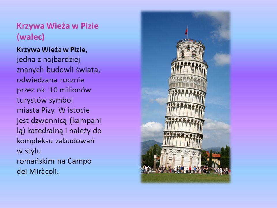 Krzywa Wieża w Pizie (walec) Krzywa Wieża w Pizie, jedna z najbardziej znanych budowli świata, odwiedzana rocznie przez ok. 10 milionów turystów symbo