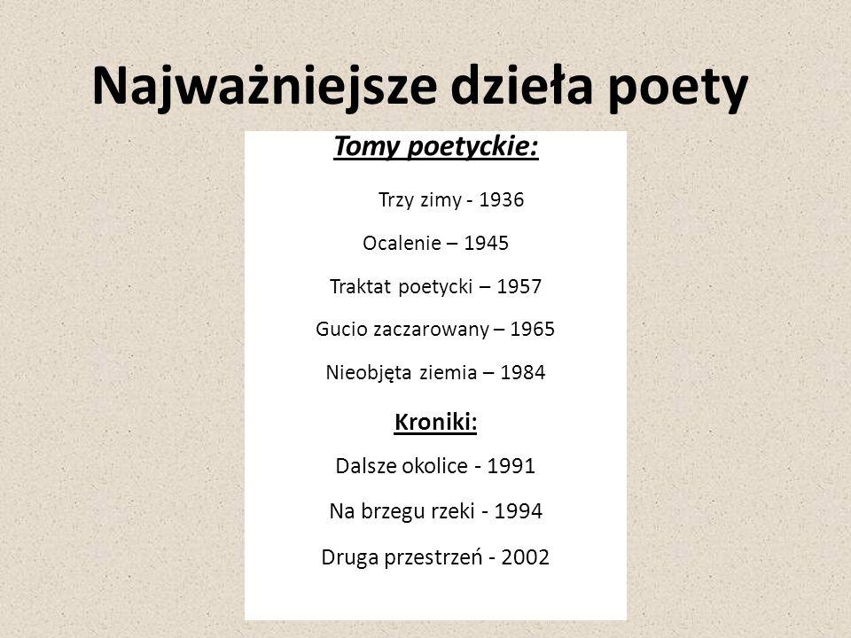 Najważniejsze dzieła poety Tomy poetyckie: Trzy zimy - 1936 Ocalenie – 1945 Traktat poetycki – 1957 Gucio zaczarowany – 1965 Nieobjęta ziemia – 1984 K
