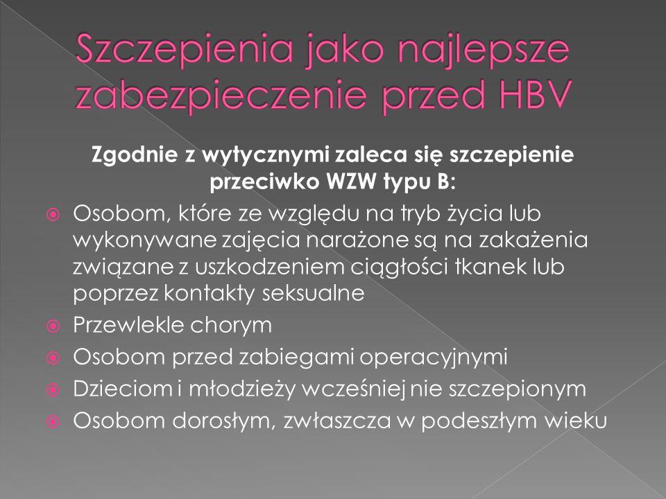 Zgodnie z wytycznymi zaleca się szczepienie przeciwko WZW typu B: Osobom, które ze względu na tryb życia lub wykonywane zajęcia narażone są na zakażen
