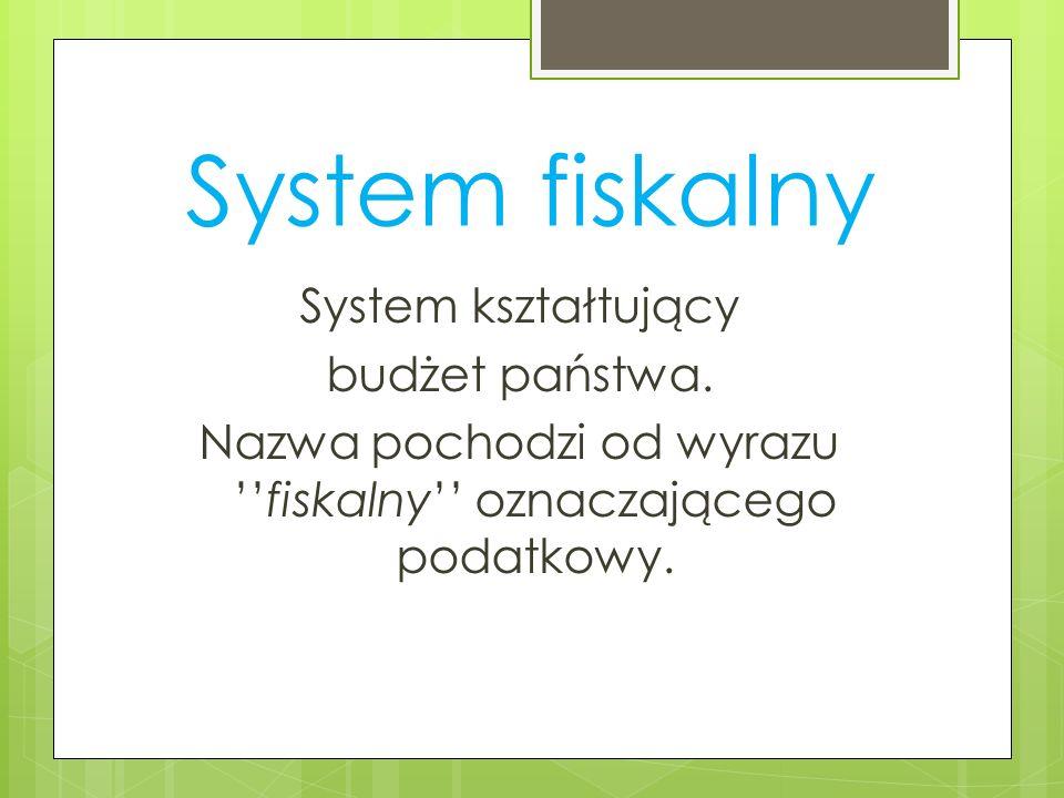 System fiskalny System kształtujący budżet państwa. Nazwa pochodzi od wyrazufiskalny oznaczającego podatkowy.