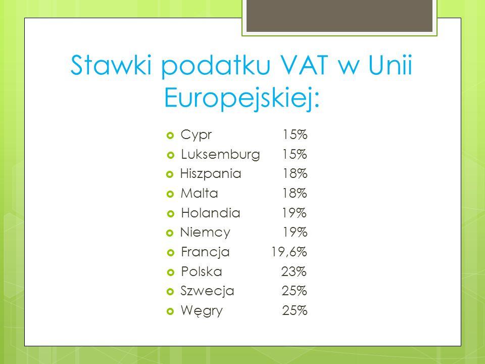 Stawki podatku VAT w Unii Europejskiej: Cypr 15% Luksemburg 15% Hiszpania 18% Malta 18% Holandia 19% Niemcy 19% Francja 19,6% Polska 23% Szwecja 25% W