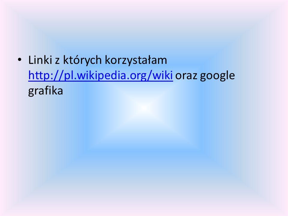 Linki z których korzystałam http://pl.wikipedia.org/wiki oraz google grafika http://pl.wikipedia.org/wiki
