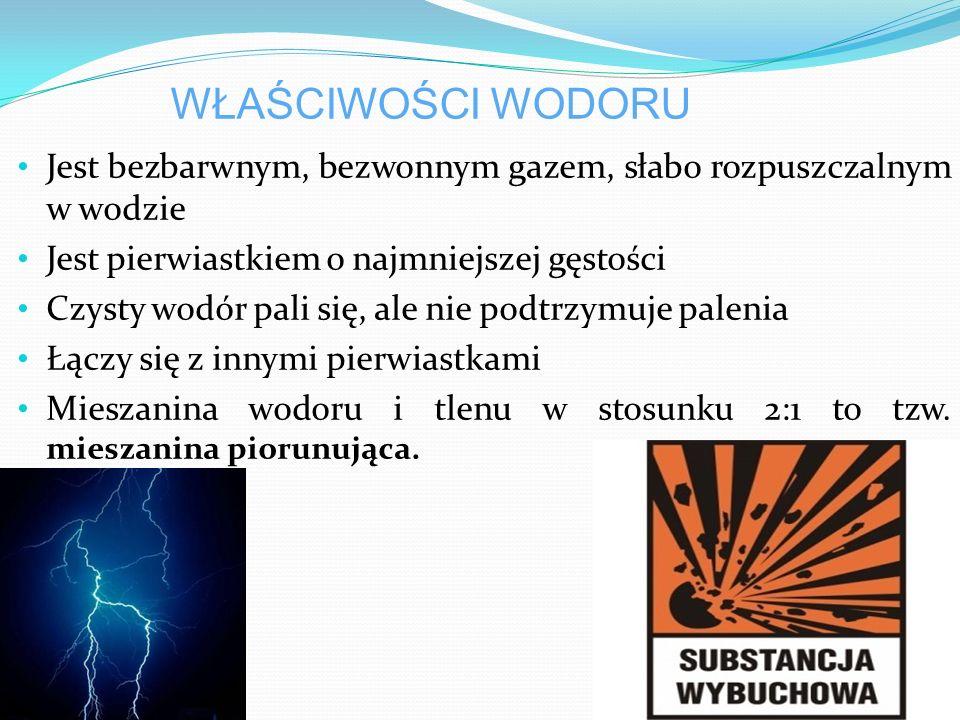 ZASTOSOWANIE Wodór stosuje się jako surowiec do syntezy podstawowych produktów przemysłu chemicznego - amoniaku, chlorowodoru, metanolu i benzyny syntetycznej.