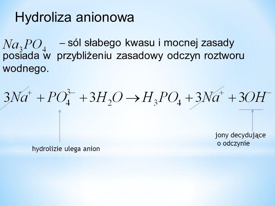Hydroliza anionowa hydrolizie ulega anion jony decydujące o odczynie