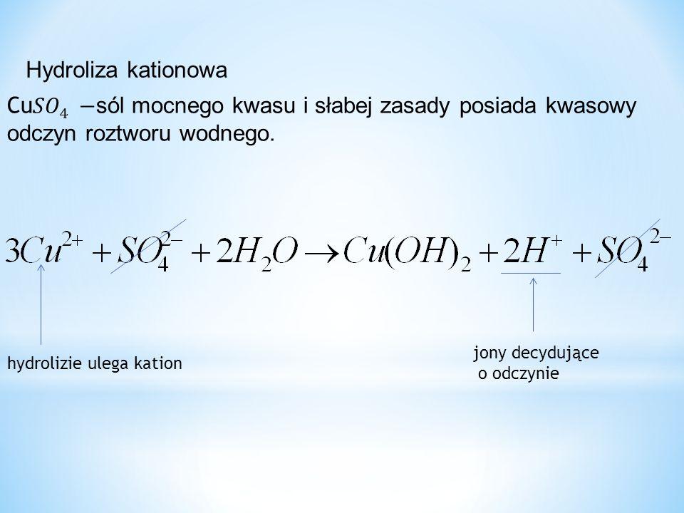 Hydroliza kationowa hydrolizie ulega kation jony decydujące o odczynie