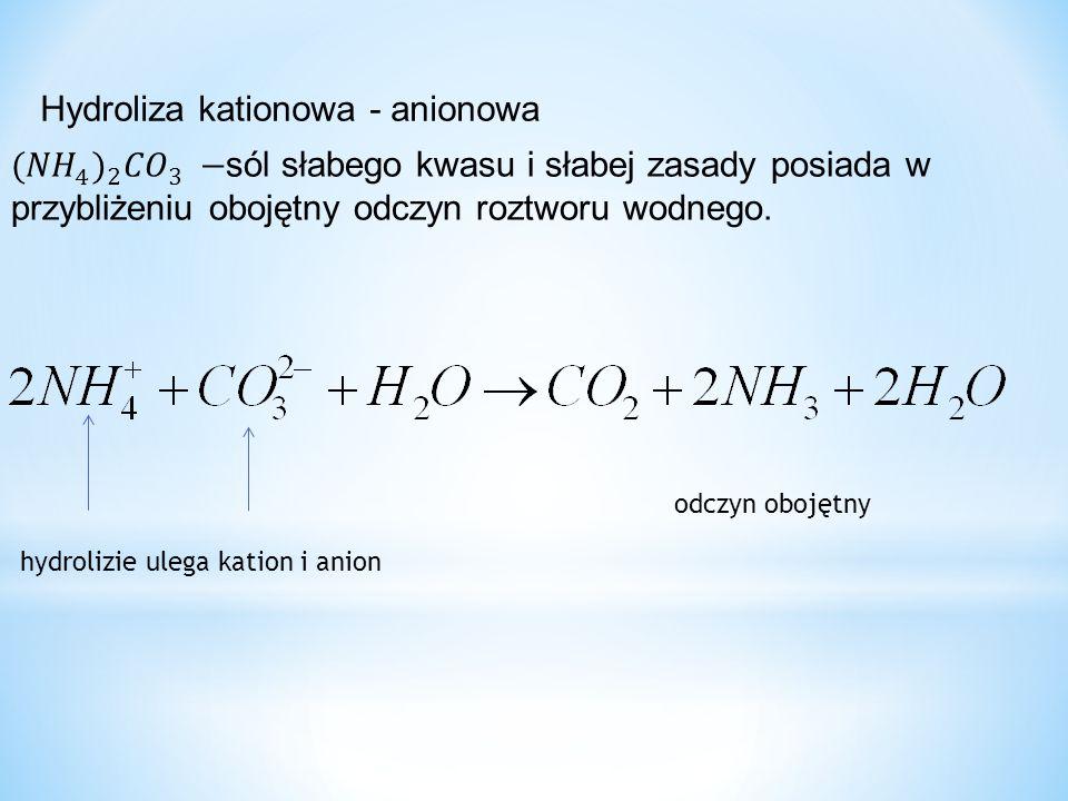 Hydroliza kationowa - anionowa hydrolizie ulega kation i anion odczyn obojętny