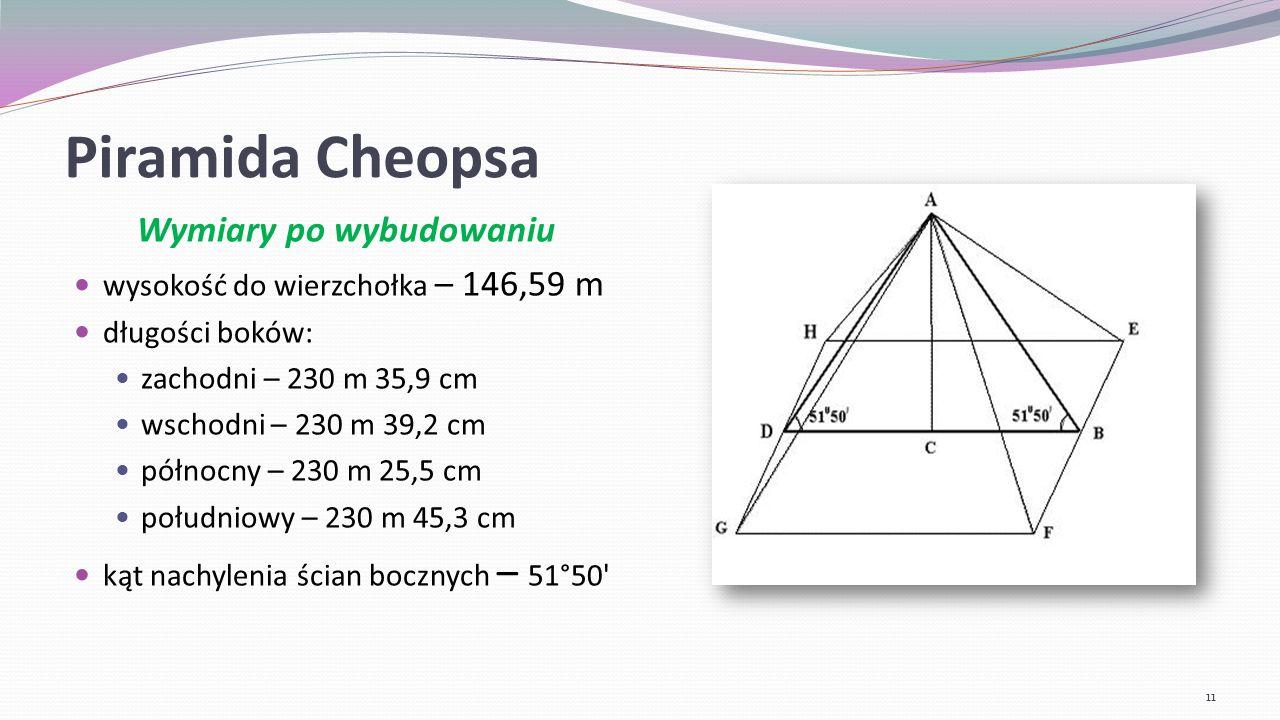 Piramida Mykerinosa Mierząca jedynie 65 metrów wysokości piramida została zbudowana z największych, znanych w Gizie, bloków kamiennych.