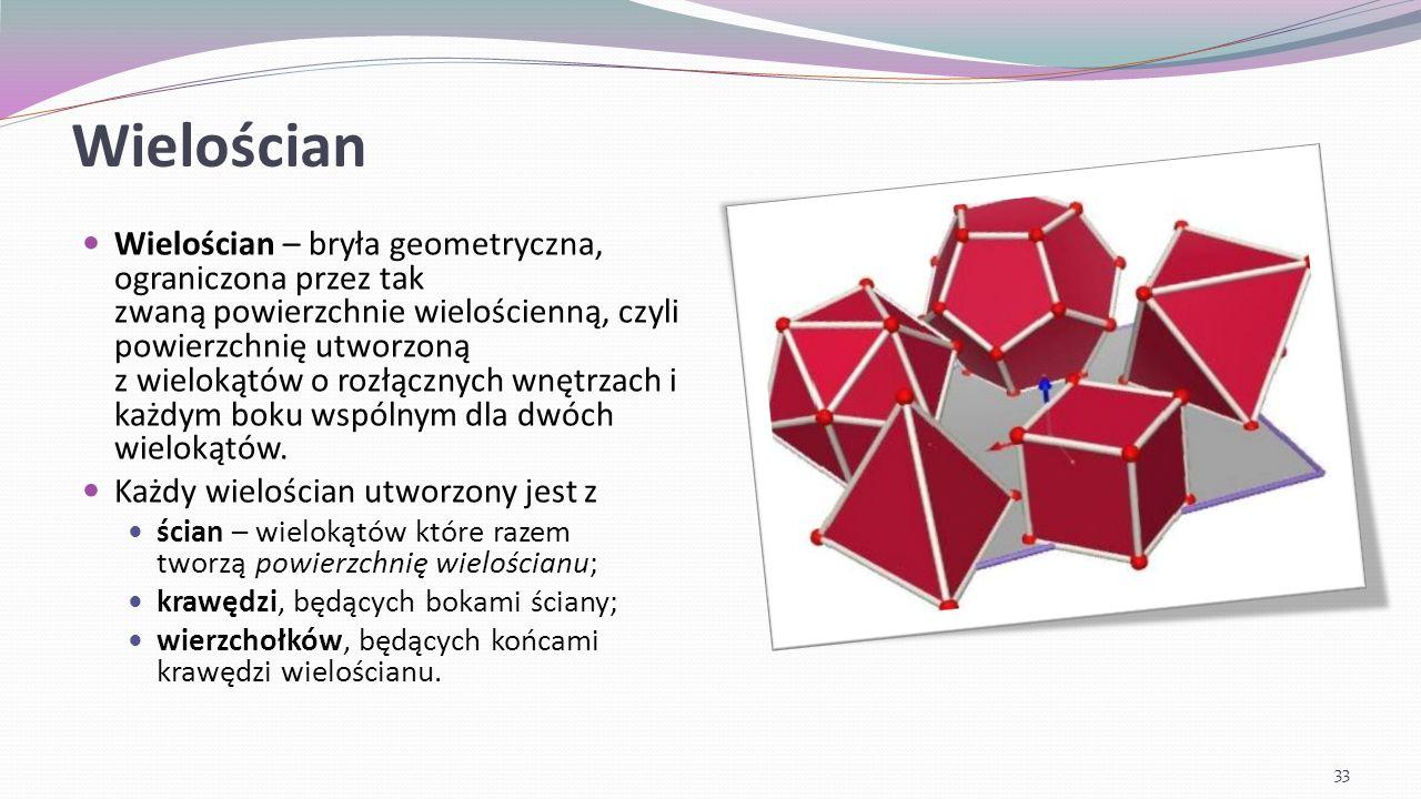 Wielościan foremny (bryła platońska) Wielościan spełniający następujące trzy warunki: ściany są przystającymi wielokątami foremnymi, w każdym wierzchołu zbiega się jednakowa liczba ścian, jest wypukłą.