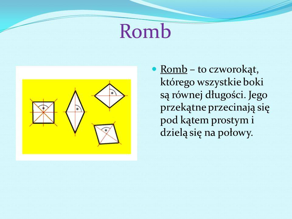 Romb Romb – to czworokąt, którego wszystkie boki są równej długości. Jego przekątne przecinają się pod kątem prostym i dzielą się na połowy.