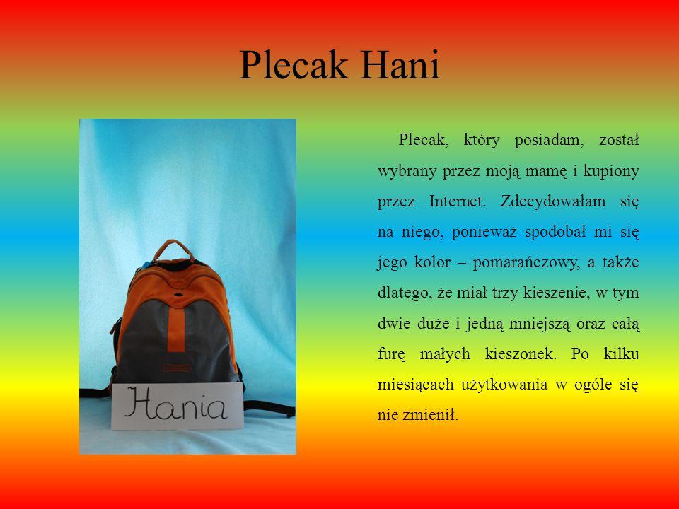 Plecak Klaudii W plecaku zazwyczaj mam karton techniczny, a zawsze książki, zeszyty i piórnik, ponieważ to najbardziej się przydaje do lekcji. Mój ple