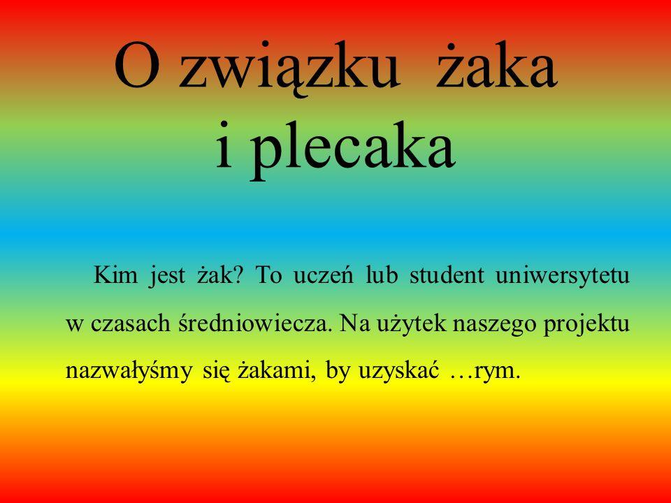 Pokaż żaku, co masz w plecaku ! Prezentacja przygotowana przez uczennice klasy IV A: Zuzannę Błaszkowską, Wiktorię Kochanowską, Aleksandrę Korzeniewsk