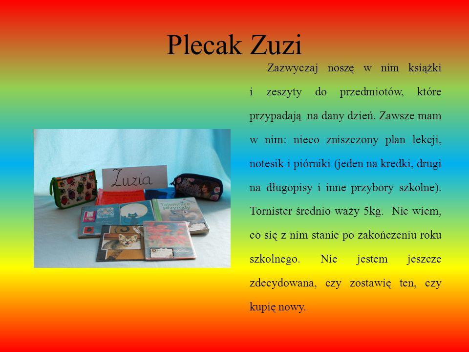 Plecak Zuzi Plecak, który posiadam, wybrałam sobie sama (w roku szkolnym 2011- 2012), ponieważ dawny mi się popsuł. Zobaczyłam go w sklepie Deichmann