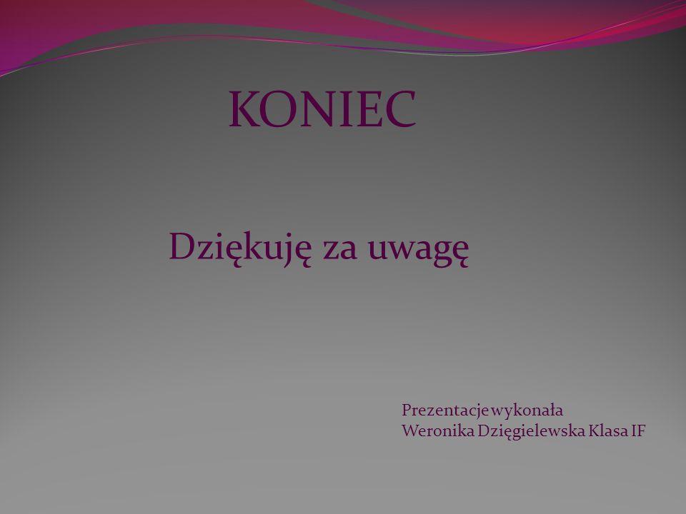 KONIEC Prezentacje wykonała Weronika Dzięgielewska Klasa IF Dziękuję za uwagę