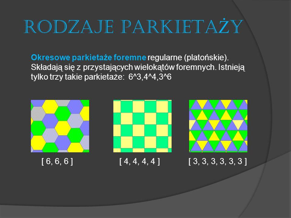 RODZAJE PARKIETA Ż Y Okresowe parkietaże półforemne regularne (archimedesowskie, półforemne) Istnieje tylko osiem takich parkietaży: (3^4,6),(3^3,4^2),(4,8^2),(4,6,12),(3,4,6,4), (3^2,4,3,4),(3,12^2),(3,6,3,6).