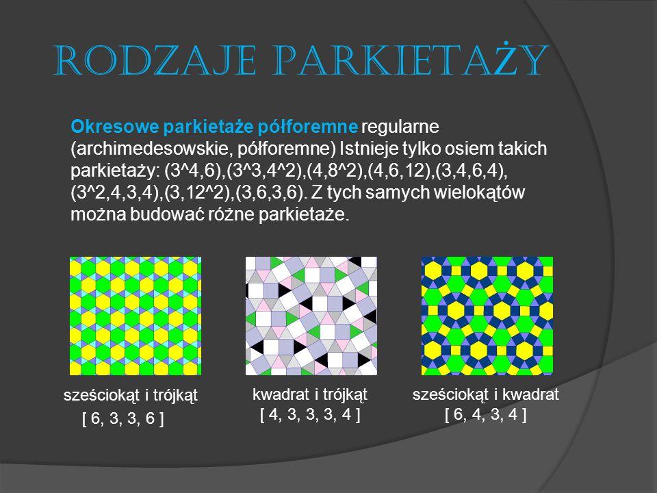 RODZAJE PARKIETA Ż Y Okresowe parkietaże półforemne nieregularne Przykładem jest parkietaż Johnsona, który ma dwa rodzaje wierzchołków: 3^6 oraz (3^2,4,12).