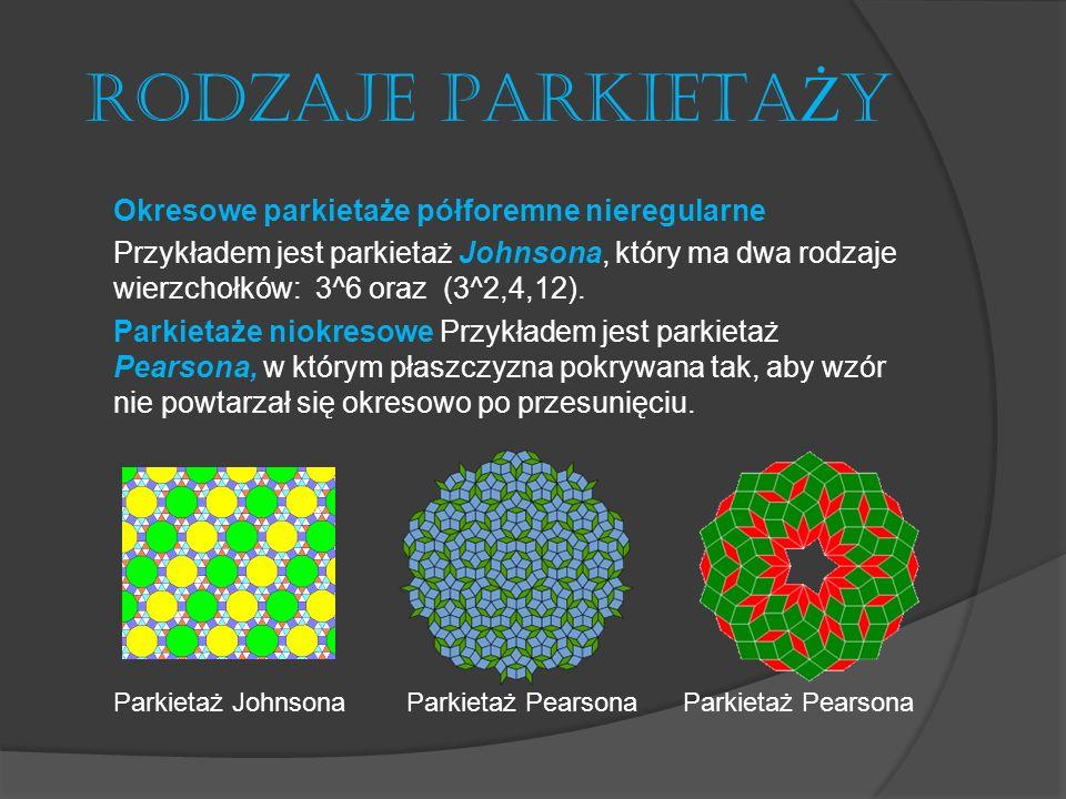 RODZAJE PARKIETA Ż Y Okresowe parkietaże półforemne nieregularne Przykładem jest parkietaż Johnsona, który ma dwa rodzaje wierzchołków: 3^6 oraz (3^2,