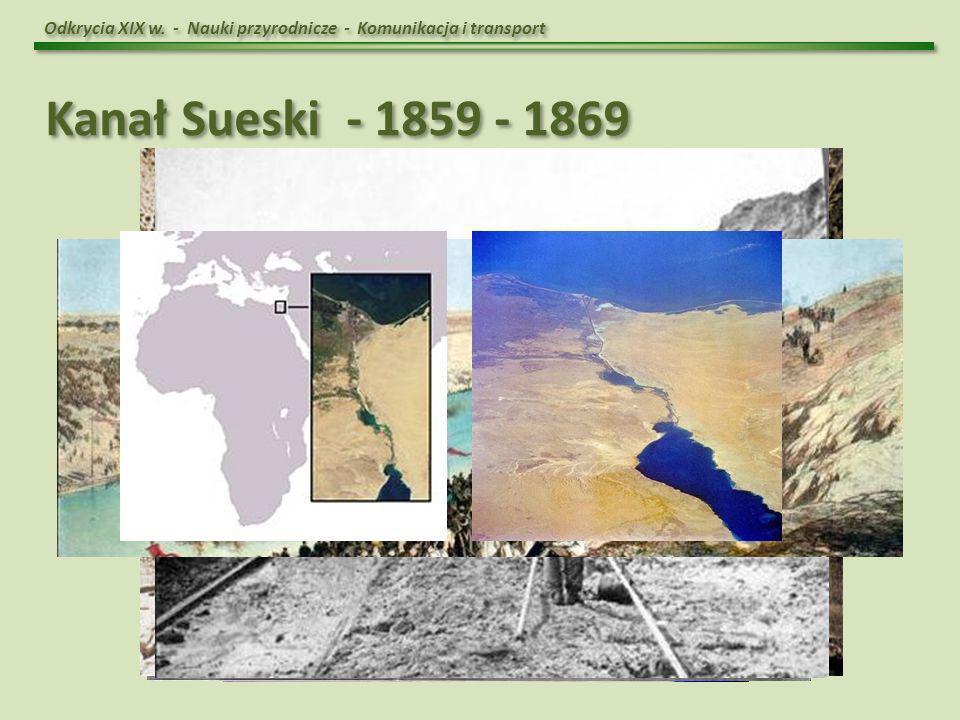 Odkrycia XIX w. - Nauki przyrodnicze - Komunikacja i transport Kanał Sueski - 1859 - 1869