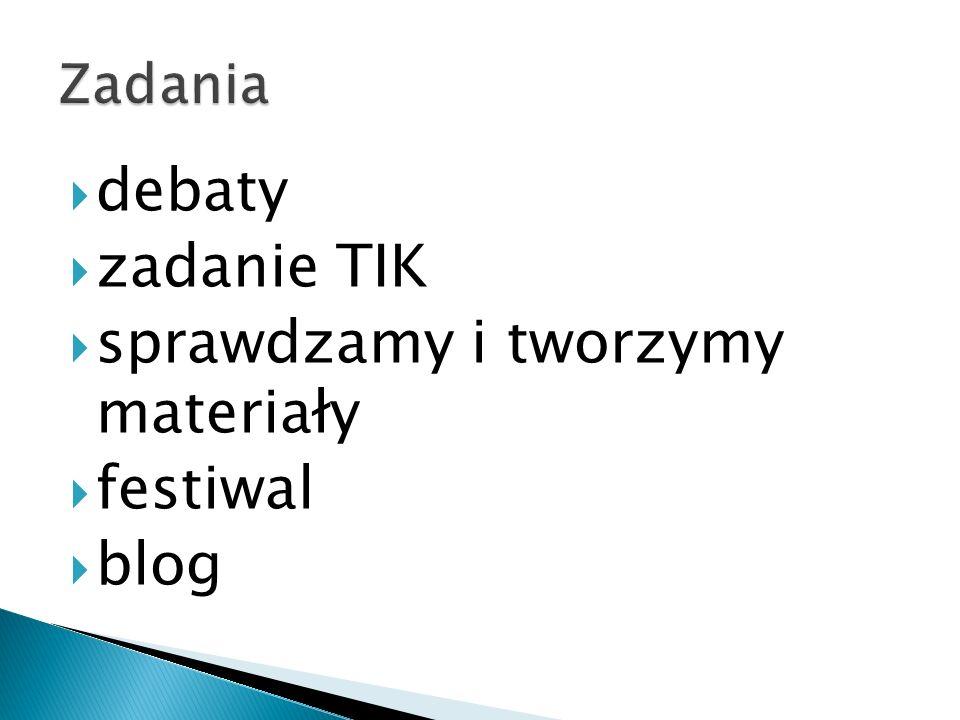 debaty zadanie TIK sprawdzamy i tworzymy materiały festiwal blog
