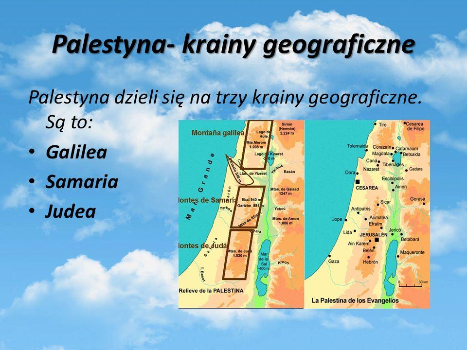 Palestyna- krainy geograficzne Palestyna dzieli się na trzy krainy geograficzne. Są to: Galilea Samaria Judea