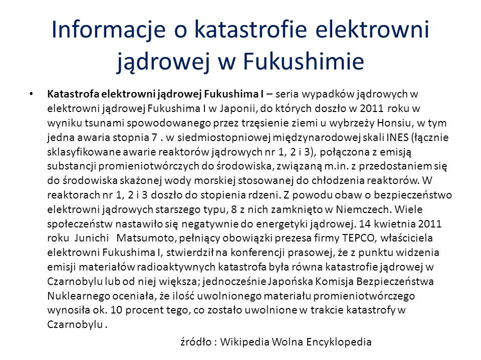 Informacje o katastrofie elektrowni jądrowej w Fukushimie Katastrofa elektrowni jądrowej Fukushima I – seria wypadków jądrowych w elektrowni jądrowej