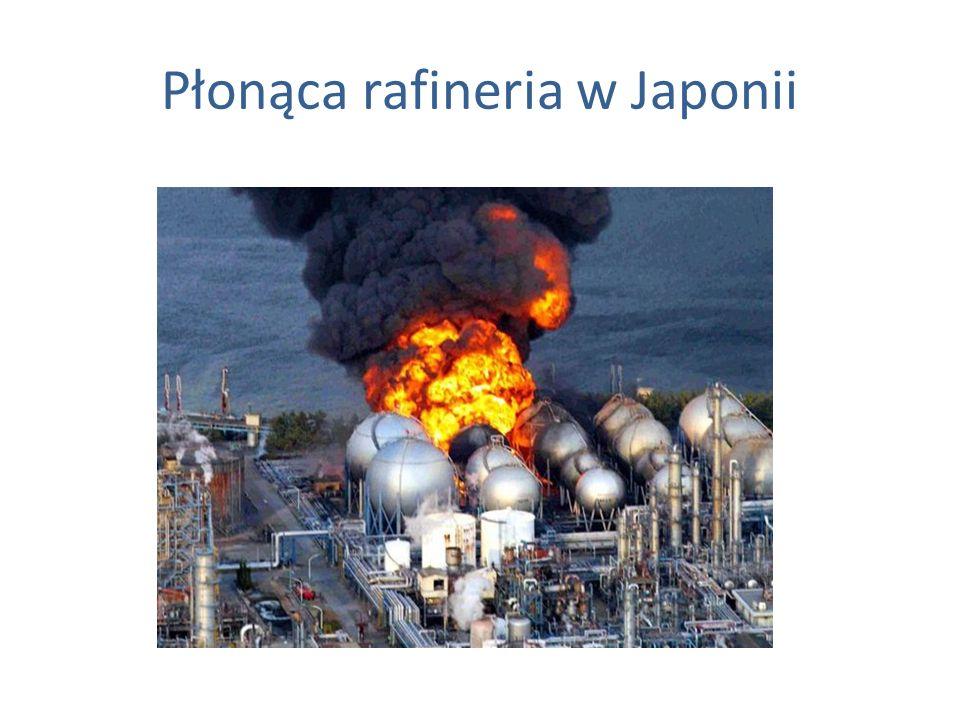 Płonąca rafineria w Japonii