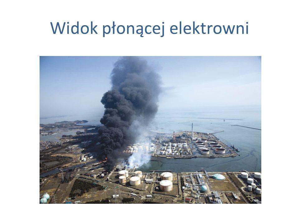 Widok płonącej elektrowni