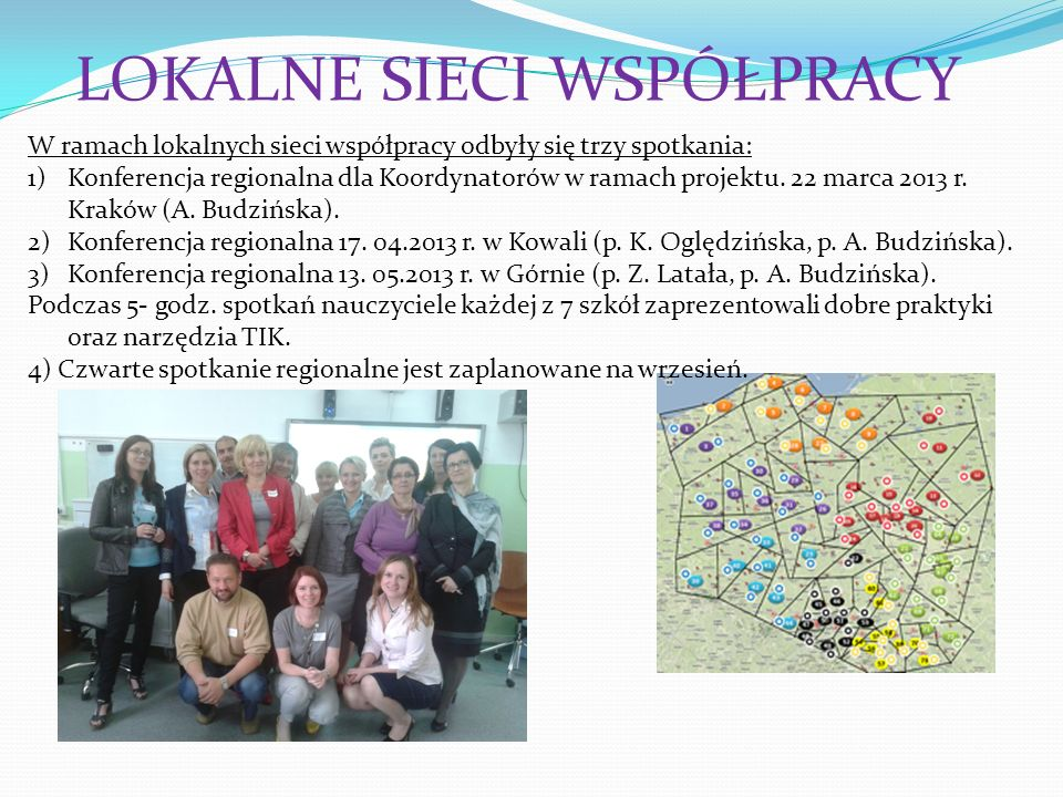 LOKALNE SIECI WSPÓŁPRACY W ramach lokalnych sieci współpracy odbyły się trzy spotkania: 1)Konferencja regionalna dla Koordynatorów w ramach projektu.