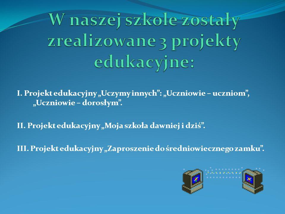 I. Projekt edukacyjny Uczymy innych: Uczniowie – uczniom, Uczniowie – dorosłym. II. Projekt edukacyjny Moja szkoła dawniej i dziś. III. Projekt edukac