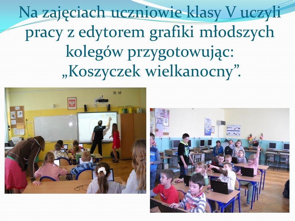Na zajęciach uczniowie klasy V uczyli pracy z edytorem grafiki młodszych kolegów przygotowując: Koszyczek wielkanocny.