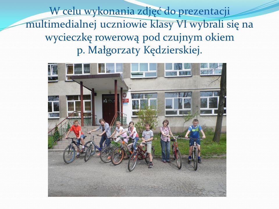 W celu wykonania zdjęć do prezentacji multimedialnej uczniowie klasy VI wybrali się na wycieczkę rowerową pod czujnym okiem p. Małgorzaty Kędzierskiej