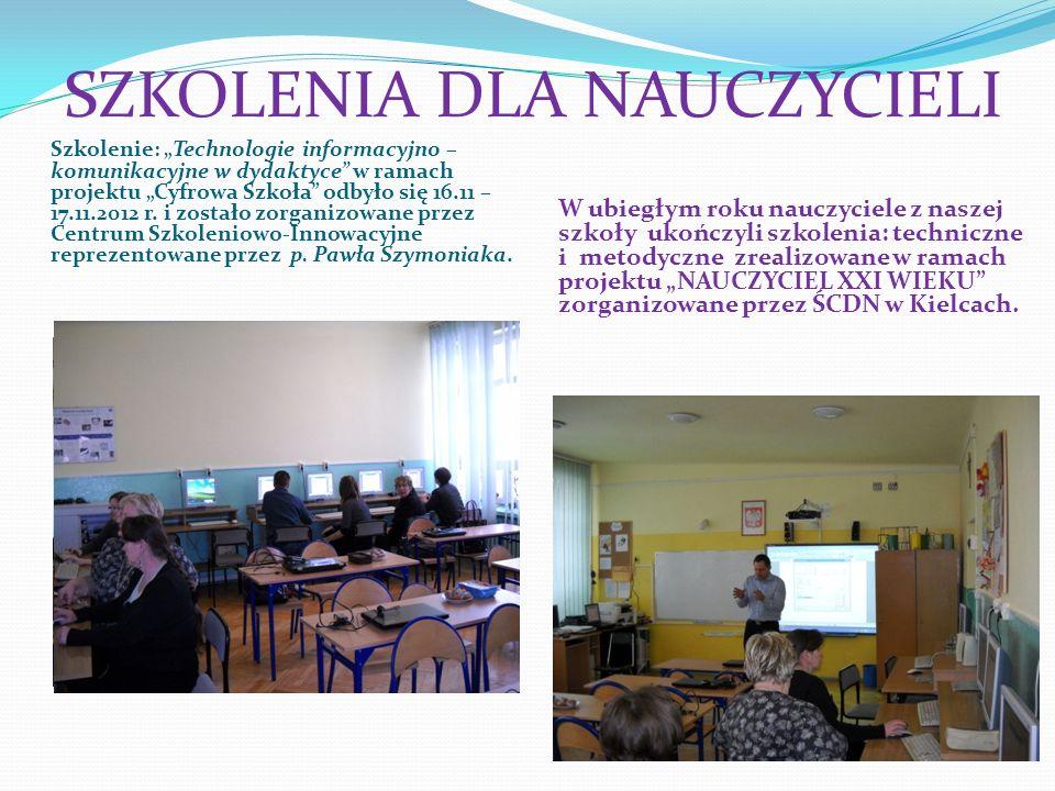 SZKOLENIA DLA NAUCZYCIELI Szkolenie: Technologie informacyjno – komunikacyjne w dydaktyce w ramach projektu Cyfrowa Szkoła odbyło się 16.11 – 17.11.20