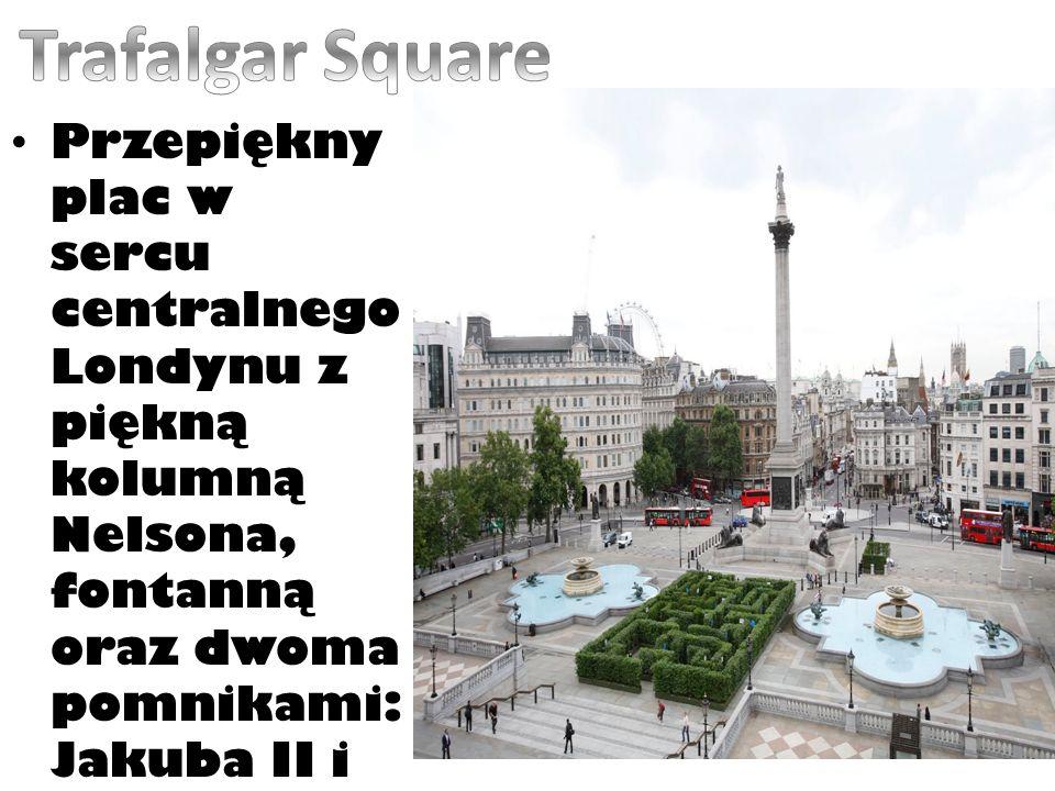 Przepiękny plac w sercu centralnego Londynu z piękną kolumną Nelsona, fontanną oraz dwoma pomnikami: Jakuba II i Jerzego IV.