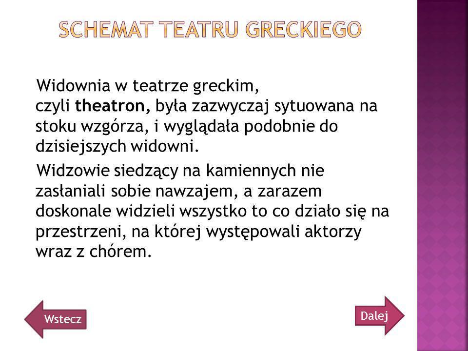 Widownia w teatrze greckim, czyli theatron, była zazwyczaj sytuowana na stoku wzgórza, i wyglądała podobnie do dzisiejszych widowni. Widzowie siedzący