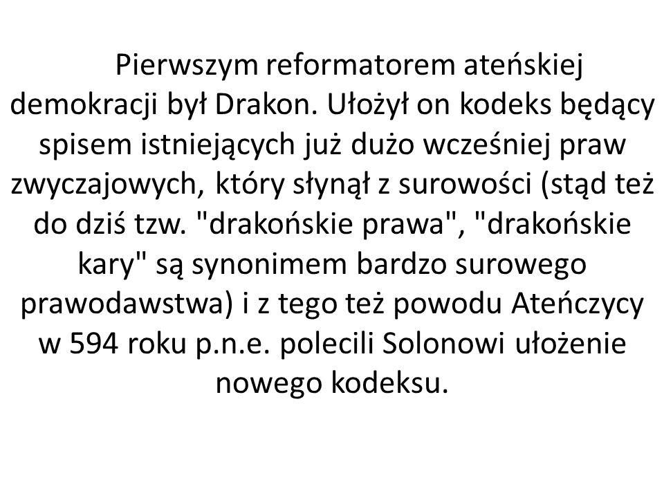 Pierwszym reformatorem ateńskiej demokracji był Drakon. Ułożył on kodeks będący spisem istniejących już dużo wcześniej praw zwyczajowych, który słynął