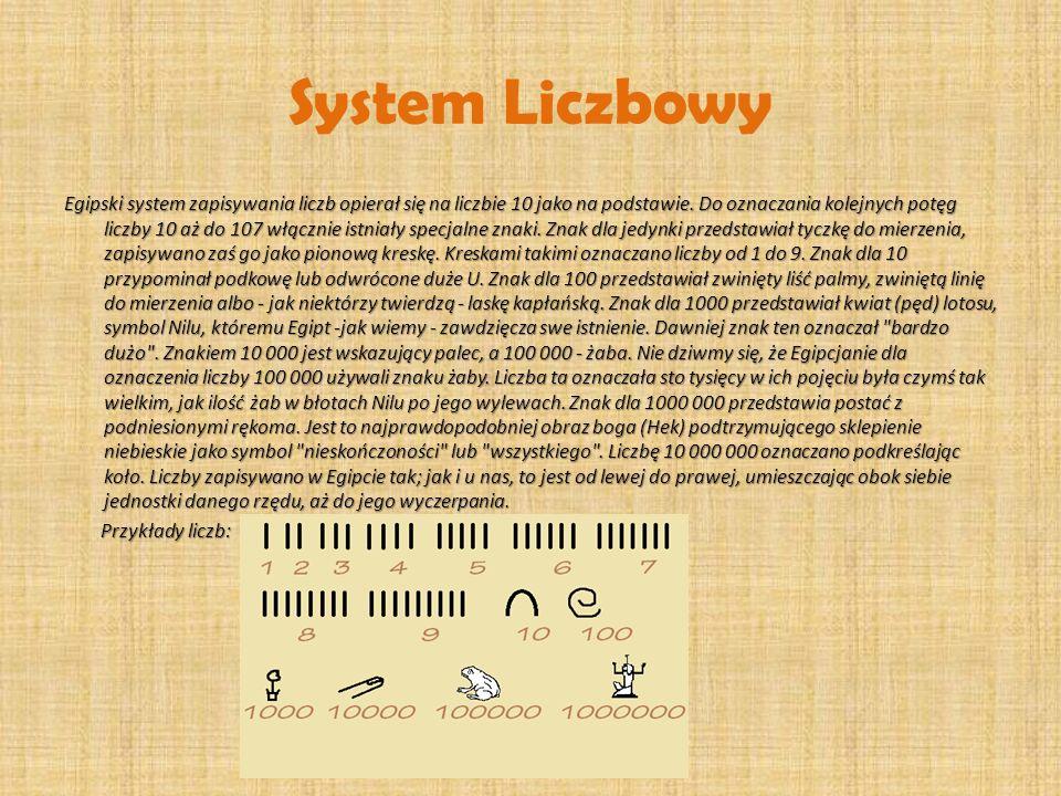 System Liczbowy Egipski system zapisywania liczb opierał się na liczbie 10 jako na podstawie. Do oznaczania kolejnych potęg liczby 10 aż do 107 włączn