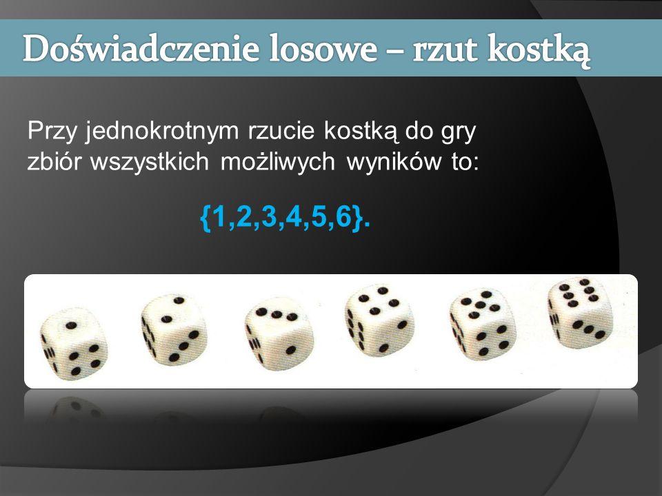 Przy jednokrotnym rzucie kostką do gry zbiór wszystkich możliwych wyników to: {1,2,3,4,5,6}.