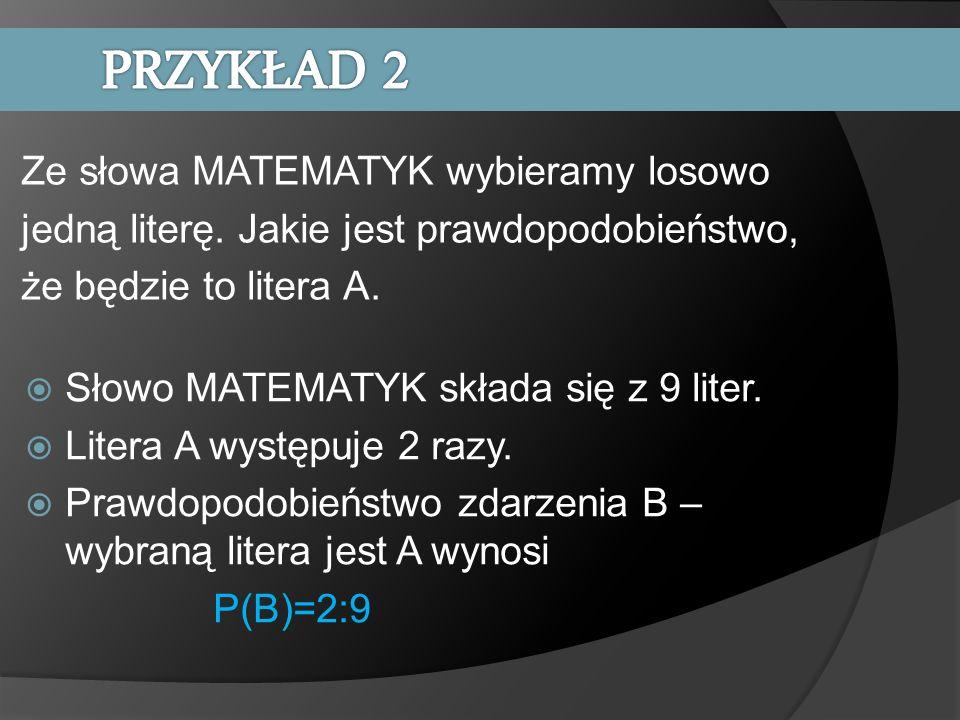 Słowo MATEMATYK składa się z 9 liter. Litera A występuje 2 razy. Prawdopodobieństwo zdarzenia B – wybraną litera jest A wynosi P(B)=2:9 Ze słowa MATEM