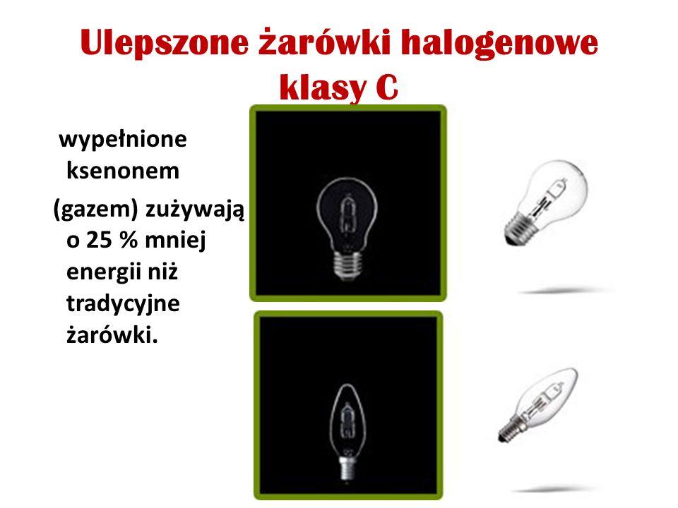 Ulepszone ż arówki halogenowe klasy C wypełnione ksenonem (gazem) zużywają o 25 % mniej energii niż tradycyjne żarówki.