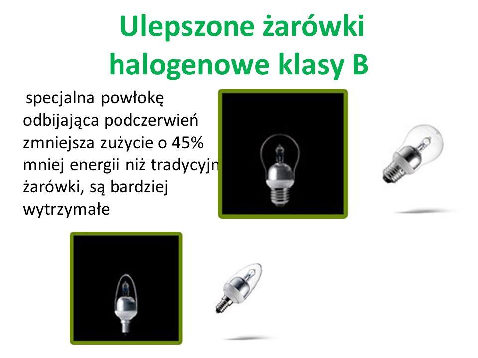 Ulepszone żarówki halogenowe klasy B specjalna powłokę odbijająca podczerwień zmniejsza zużycie o 45% mniej energii niż tradycyjne żarówki, są bardziej wytrzymałe