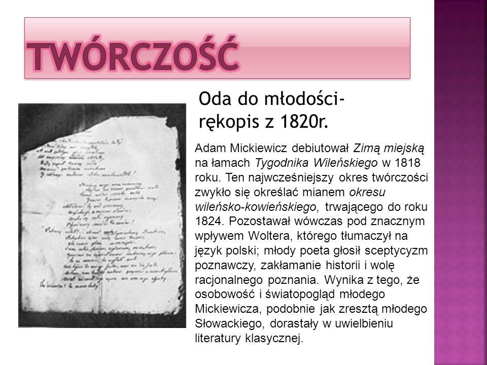 Oda do młodości- rękopis z 1820r.