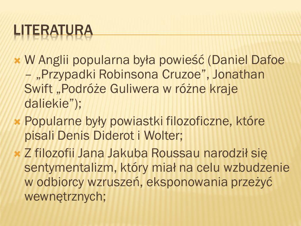 W Polsce popularny stał się klasycyzm (Ignacy Krasicki, Stanisław Trembecki, Adam Naruszewicz, Franciszek Zabłocki) Swój rozkwit przeżywała bajka, satyra, oda, poemat heroikomiczny.