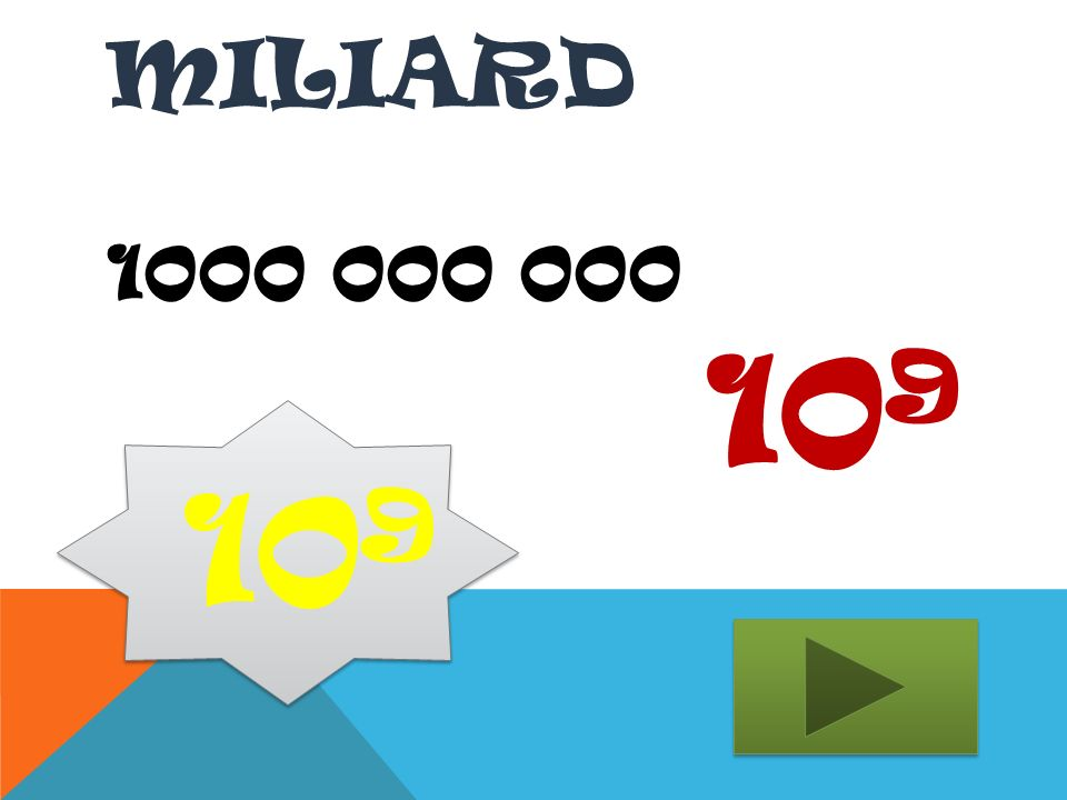 MILIARD 1000 000 000 10 9